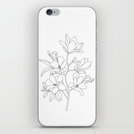 Minimal Line Art Magnolia Flowers iPhone Skin