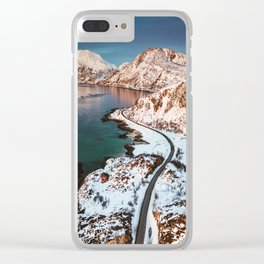 aerial view of the lofoten islands in norway Clear iPhone Case