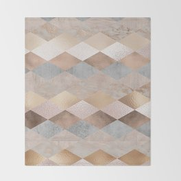 Copper and Blush Rose Gold Marble Argyle Throw Blanket