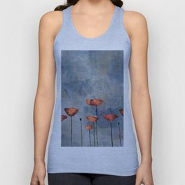 Poppyfield against the blue sky - abstract watercolor artwork Unisex Tank Top