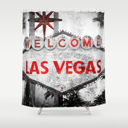 Fabulous Las Vegas Sign Scratched Aged  Shower Curtain