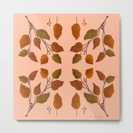 Autumn leaves and berries symmetrical pattern on peach background Metal Print