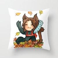 bucky Throw Pillows featuring fall - bucky by cynamon