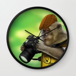 Photographer of the apes Wall Clock