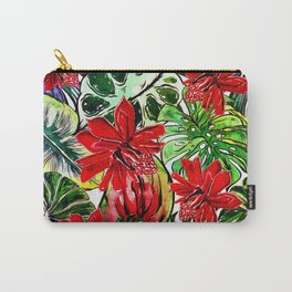 Exotic Passiflora Flowers Jungle Aloha Pattern Carry-All Pouch
