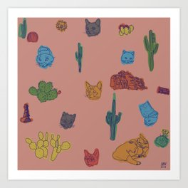 Cats and Cacti - Special Edition Art Print