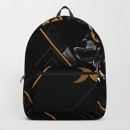 Cat Skull Goddess Geometric Lunar Black and Gold Backpack