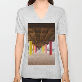 Pier with color painted columns on the beach Unisex V-Neck