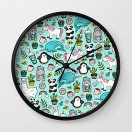 Narwhal and Friends, Emoji Tween Print, Pre-teen Girls, Unicorns, Panda, Llamas and Doughnuts Wall Clock
