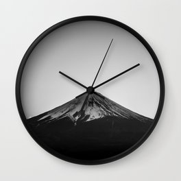 Mount Fuji Volcano in Grayscale Wall Clock