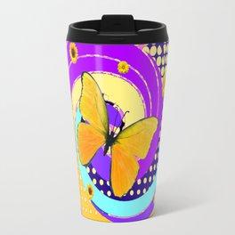 YELLOW BUTTERFLY PURPLE SPRING HAS SPRUNG Travel Mug