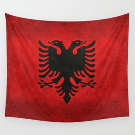 Albanian Flag in Vintage Retro Style Wall Tapestry