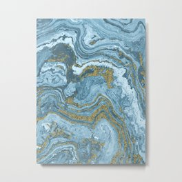 Gold Waves on Blue Metal Print