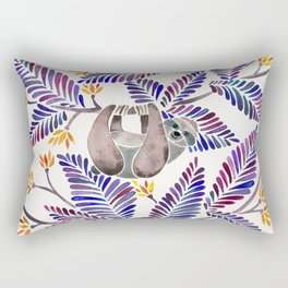 Happy Sloth – Tropical Indigo Leaves Rectangular Pillow