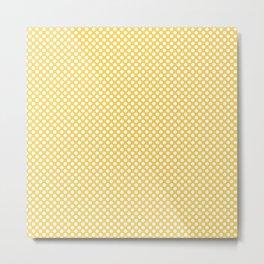 Primrose Yellow and White Polka Dots Metal Print