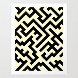 Black and Cream Yellow Diagonal Labyrinth Art Print