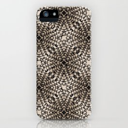 Black and Tan Geometric Modern Chrysanthemum Pattern iPhone Case