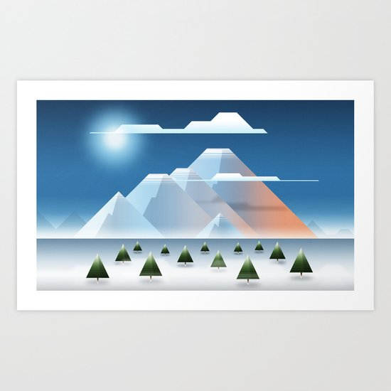 Polygonal Scenery 02 : The Artic Montains Art Print