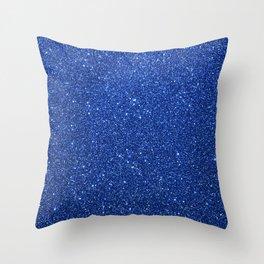 Cobalt Blue Glitter Throw Pillow