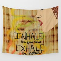rasta Wall Tapestries featuring Rasta Smoke Dreams - Smoking Lady Series by Aries Art
