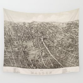 Vintage Pictorial Map of Malden Massachusetts (1881) Wall Tapestry
