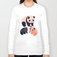 pandas Long Sleeve T-shirts featuring Somos Pandas by Pamku