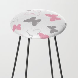 Pink Gray Butterfly Counter Stool