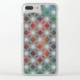 Abstract Star Flower Pattern Clear iPhone Case