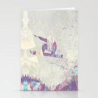 snowboarding Stationery Cards featuring Explorers IV by HappyMelvin