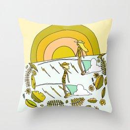 summer time daydreams surf till sunset // retro surf art by surfy birdy Throw Pillow