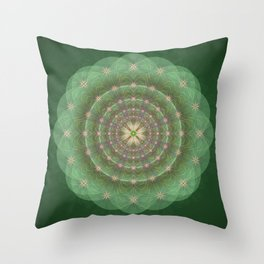 Blessing Mandala green - מנדלה ברכה ירוק Throw Pillow