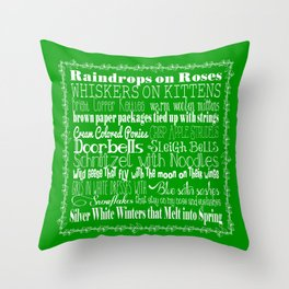 My Favorite Things - Green Throw Pillow
