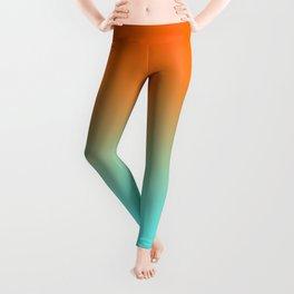Modern Bright Orange and Light Aqua Ombre Leggings