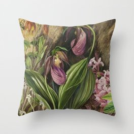 New England Lady Slipper Wild Orchids still life painting Throw Pillow