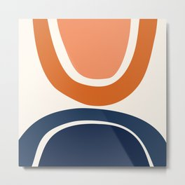 Abstract Shapes 7 in Burnt Orange and Navy Blue Metal Print