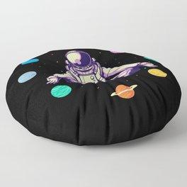 Retro Yoga Astronaut Meditates In Space Floor Pillow