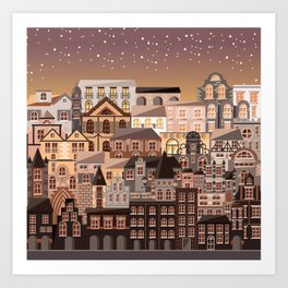 Moonlight Homes Art Print