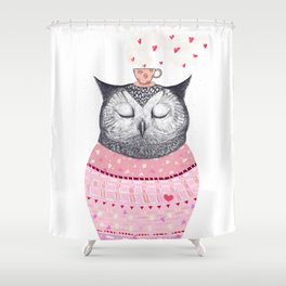Owl lover of coffee Shower Curtain