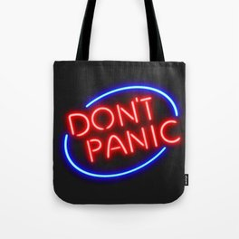 """Hitchhiker's Guide - """"Don't Panic"""" Neon Sign Tote Bag"""
