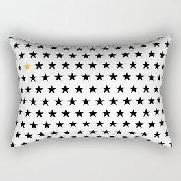 Black stars pattern with single golden star on white Rectangular Pillow