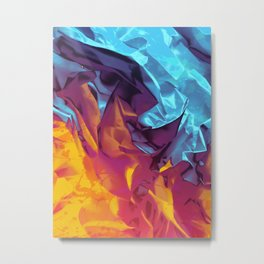Surfing Europa. Dynamic Yellow, Orange and Blue Abstract. Metal Print