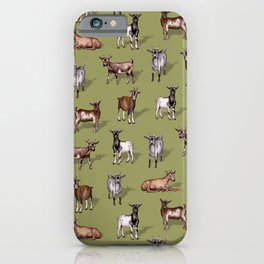 Tiny Goats on Green - Goat Herd Pattern iPhone Case