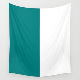White and Dark Cyan Vertical Halves Wall Tapestry