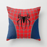 spider man Throw Pillows featuring Spider-Man by C.Rhodes Design