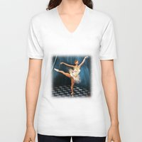 ballerina V-neck T-shirts featuring ballerina by Ancello