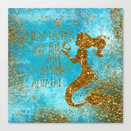 Glitter Typography-Mermaids Are My Favorite Animal Canvas Print