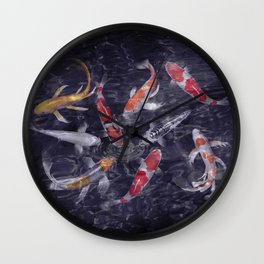 koi fish painting iPhone 4 4s 5 5c 6 7, pillow case, mugs and tshirt Wall Clock