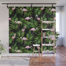 Flamingo and tropical branches Wall Mural