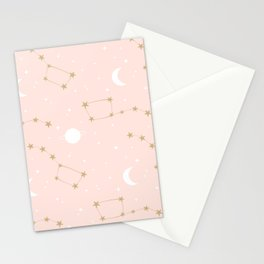 cute lovely pink, white and gold pattern background with constellation, stars, moon and planets Stationery Cards