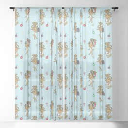 Reindeers and Ornaments - yule Sheer Curtain